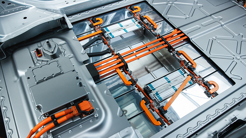 Lithium ion batteries, the most widely used kind, seen here in an electric car