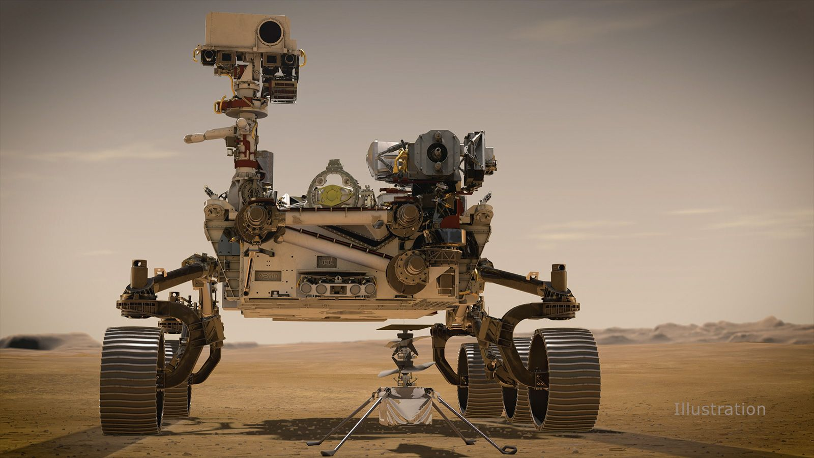 Portrait of Perseverance rover and NASA's Ingenuity Mars Helicopter