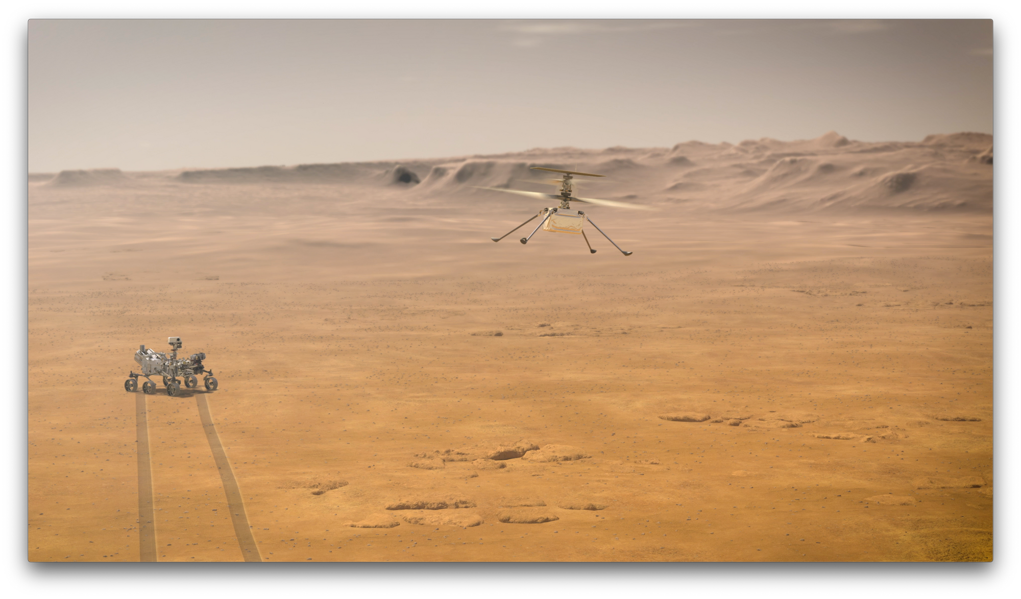 Illustrative image of Mars Helicopter and Perseverance rover on the Red Planet