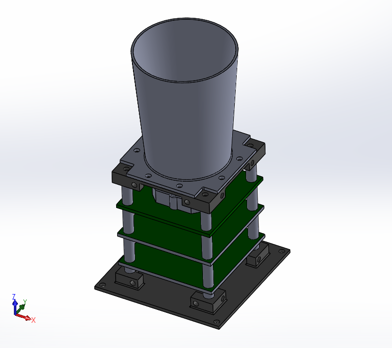 An internal CAD model of the proposed STADS system. The cylinder on top is the baffle and the green squares represent the PCBs.